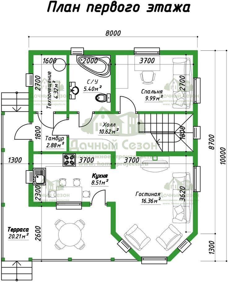 Проект деревянного дома Морелия размером 8х10 м2 от 1, 164, 463 руб. - Дачный Сезон