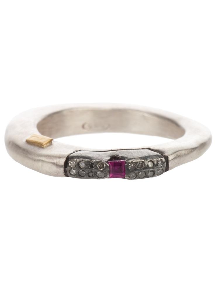 Rosa Maria quartz and diamond ring - Metallic lN51zgbjfO