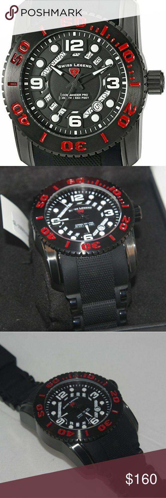 Swiss Legend Commander Pro 47mm Dive Watch Add a vibrant splash of color with a new Swiss Legend Commander Pro men's watch.  Features: Date window between 4:00 and 5:00; unidirectional bezel with red accents; screw-down crown; sapphitek crystalBlack dial with black, gunmetal and white hands and black and white hour markers and Arabic numerals; luminous; black IP stainless steel caseSwiss-quartz MovementCase Diameter: 47mmWater Resistant 200m (660ft) Swiss Legend Accessories Watches