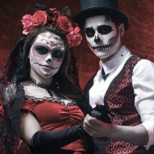 Maquillage jour des morts couple - Maquillage halloween couple ...