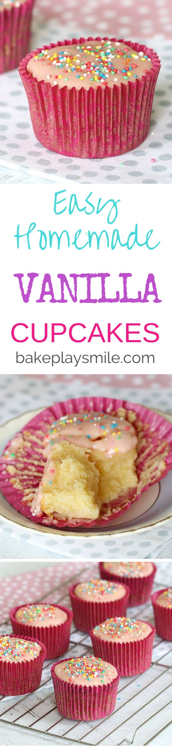 Light and fluffy Vanilla Cupcakes have never been so easy! This is my go-to recipe for parties, birthdays and afternoon teas. It's based on a really old family recipe! #vanilla #cupcakes #easy #light #fluffy #party #food #recipe #conventional #thermomix
