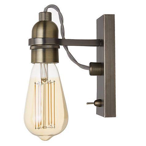 Buy John Lewis Bistro Bulb Wall Light, Antique Brass Online at johnlewis.com