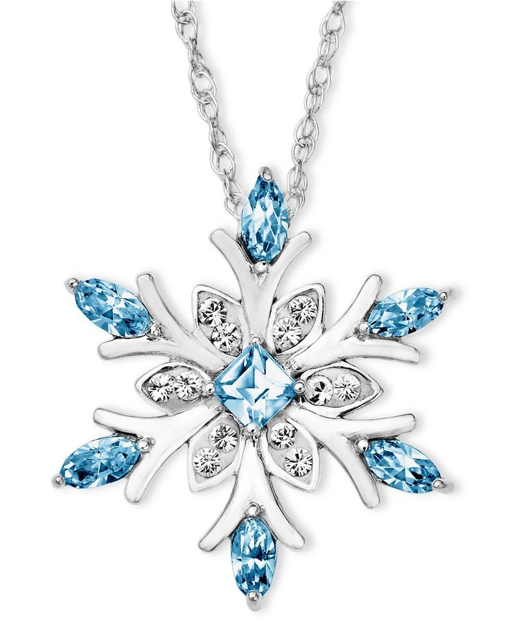 Kaleidoscope Sterling Silver Necklace, Blue Crystal Snowflake Pendant with Swarovski Elements - Necklaces - Jewelry & Watches - Macy's