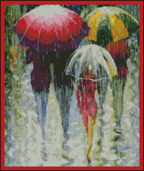 Rainy Day- Counted Needle Point and Cross Stitch Chart Patterns. $18.00, via Etsy.