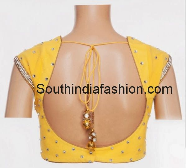 Pot Neck Blouse Celebrity Sarees, Designer Sarees, Bridal Sarees, Latest Blouse Designs 2014 South India Fashion