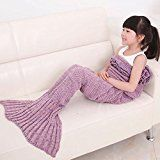 #3: KALRI Warm and Soft Kids Knitted Mermaid Blanket Handmade Sleeping Bag Sofa Quilt Living Room Blankets