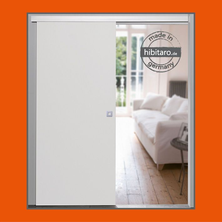 Holz Schiebetür Zimmertür weiß 755 x 2035 mm komplett mit Beschlag