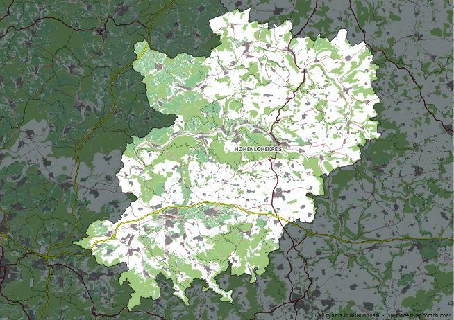Straßenkarte von Hohenlohekreis