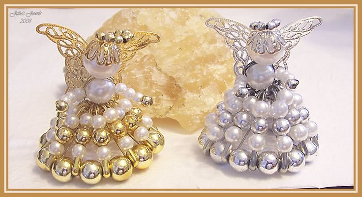 free small beaded angel pattern   Medium Sitting Safety Pin Angels (size 1 pins – Various Glass and ...