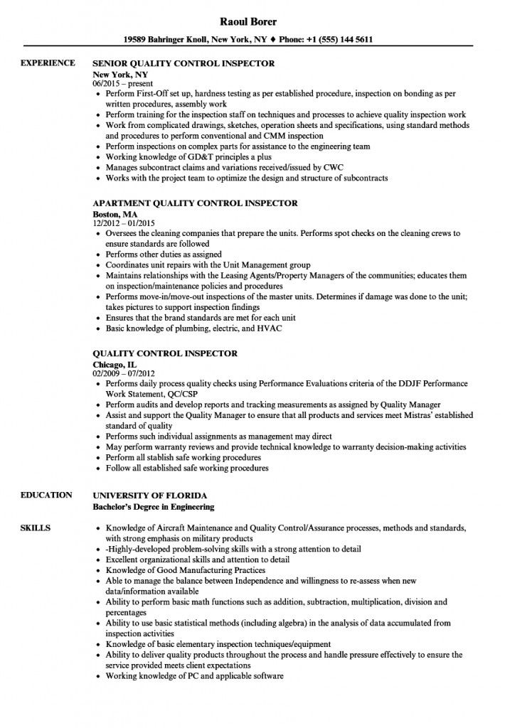 Resume Format Quality Control 2021 In 2021 Resume Format Resume Best Resume Format