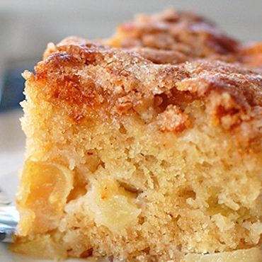 This simple cinnamon sugar apple cake is light and fluffy, loaded with fresh apples, and topped with a crunchy cinnamon sugar layer!