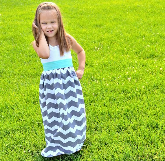 NEW Gray Chevron Tank Top Maxi Dress with Spearmint Sash - Girls' Chevron Dress - Baby Grey and Mint Chevron Maxi on Etsy, $34.99
