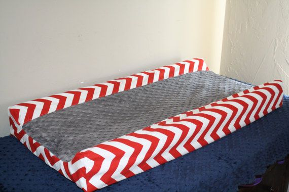 Deluxe Red Chevron Contour with Gray Minky by DesignsbyChristyS, $30.00