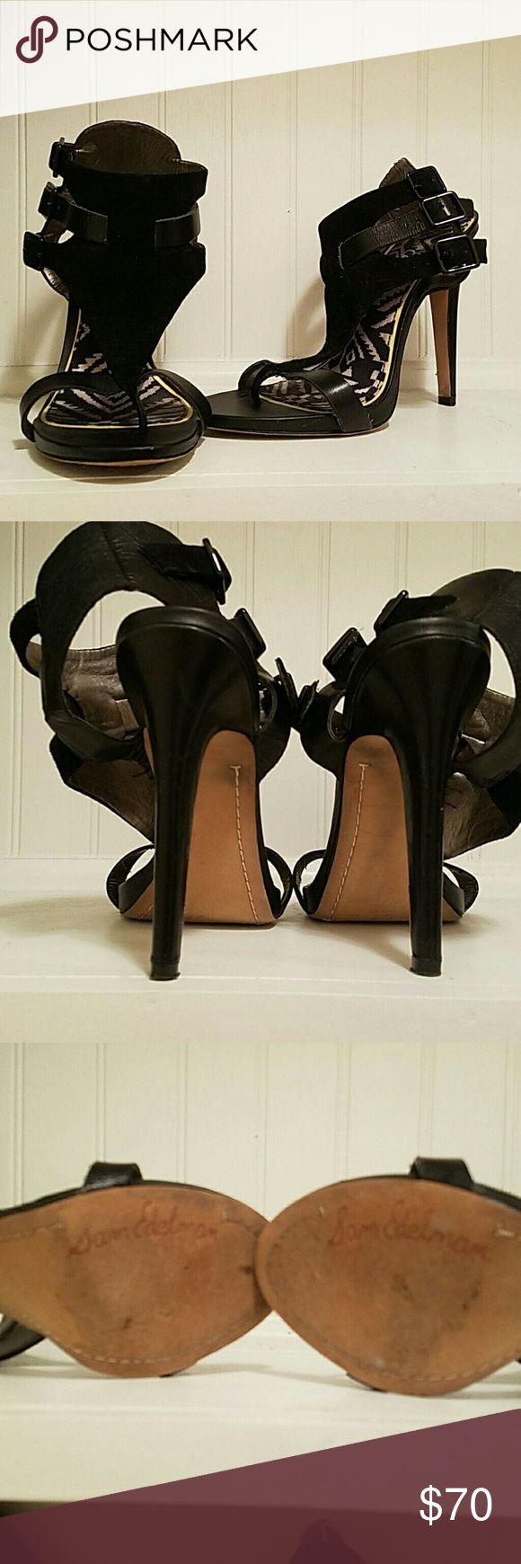Sam Edelman heels Genuine leather  & suede  3-strap side closure. Worn only a couple  times.  Excellent  condition, sexy  shoe! Sam Edelman Shoes Heels