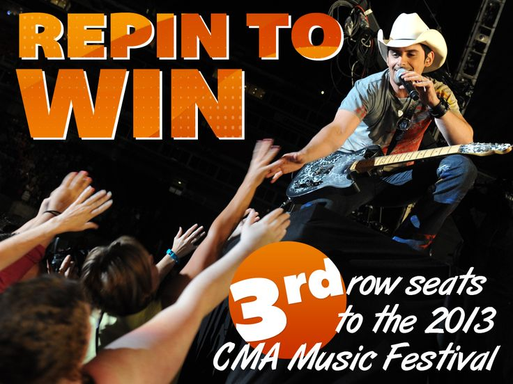 Enter for your chance to win 3rd row seats to CMA Fest next week! Check back on Monday  to find out who won!
