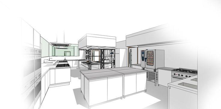 commercial kitchen sketchup. | interior design concept rendering