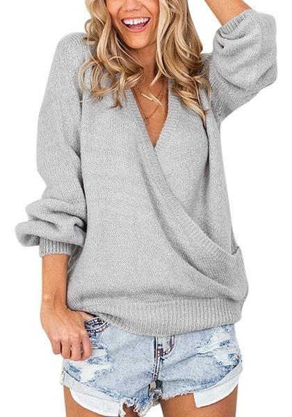 Light grey lantern sleeves surplice sweater   Shop $35.00   ♦F&I♦