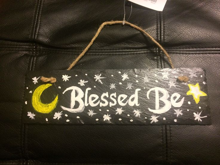 A personal favorite from my Etsy shop https://www.etsy.com/listing/521741089/blessed-be-indoor-slate-sign #slate #sign #welcome #wicca #wiccan #painted #modpodge #blessed #blessing #goodvibes