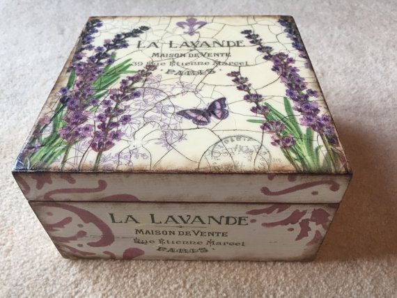 Shabby chic decoupage tea box, wooden box, tea box, purple box, lavender box, lavender, decoupage box, shabby chic