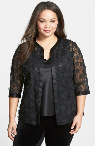 Alex Evenings Satin & Tulle Twinset (Plus Size) available at #Nordstrom
