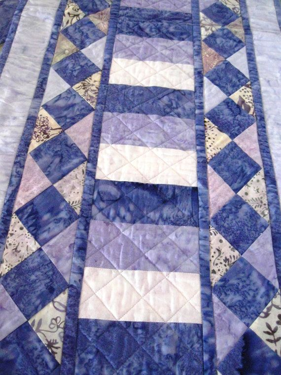 Table Runner Place Mats Batik Quilted Table Runner by CinfulArt