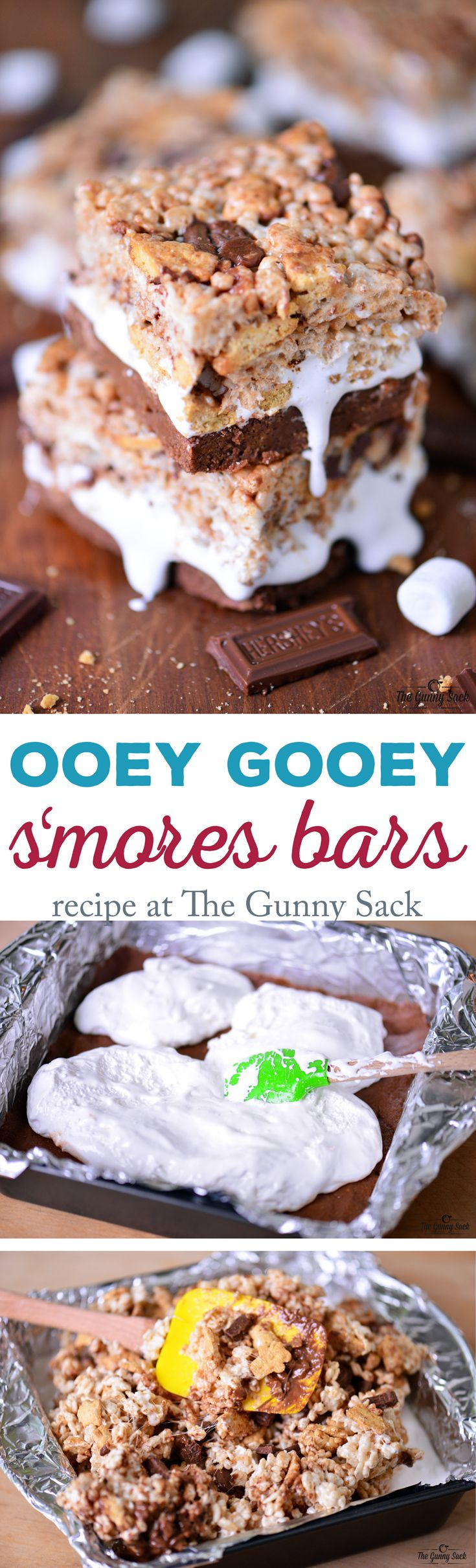 This no bake Ooey Gooey S'mores Bars recipe has a graham cracker and Nutella base, S'mores Rice Krispies on the top and marshmallow cream in the middle!