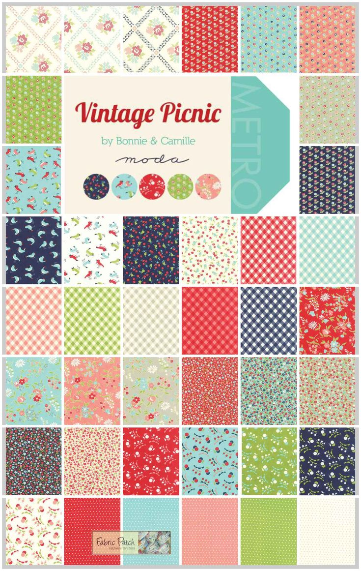 Vintage Picnic Jelly Roll Applique, patchwork and quilting fabric. Bonnie & Camile for Moda ...