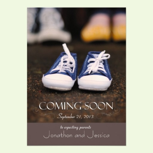 Taupe Baby Coming Soon Pregnancy Announcement