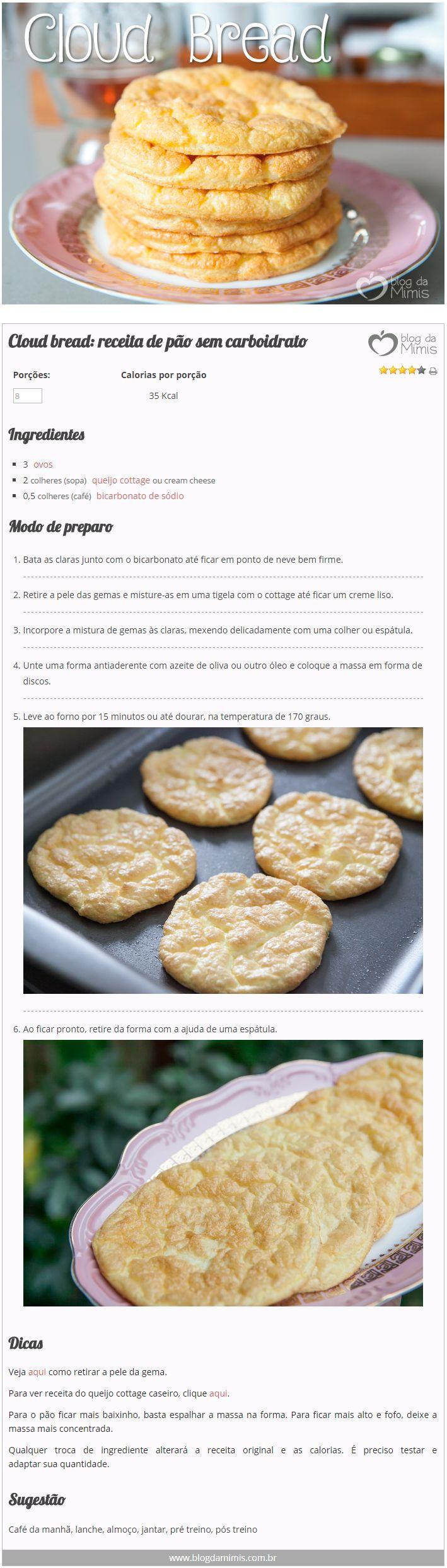 Cloud bread: receita de pão sem carboidrato - Blog da Mimis #cloudbread #bread #pão #pãonuvem #nuvem #receita #diet #dieta #emagrecer