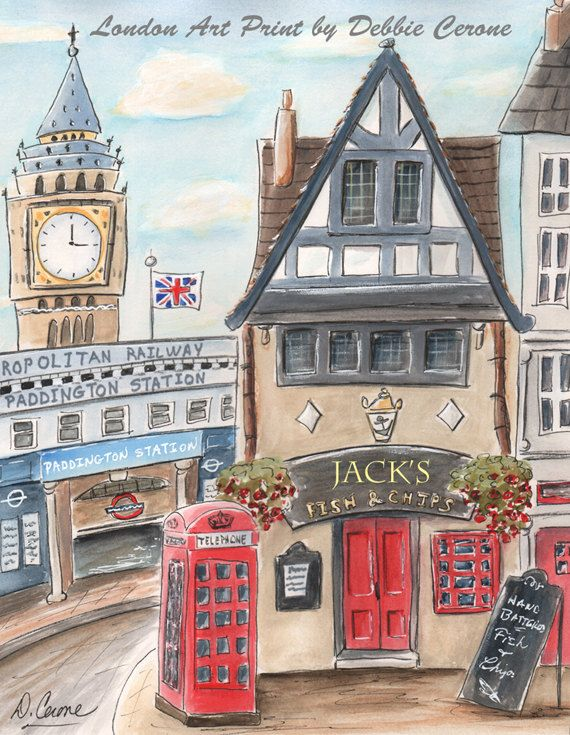 London Kid's Art Prints Nursery Wall Art by NurseryRembrandts