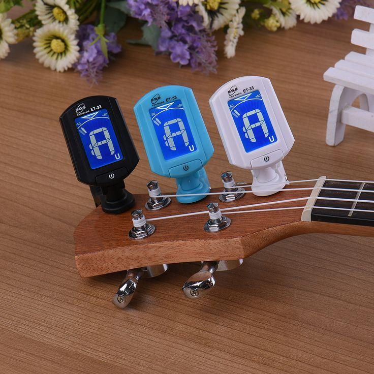 Sintonizador eno lcd et33 mini clip de la guitarra cromática bass violin ukulele tuner instrumento de viento universal instrumento musical