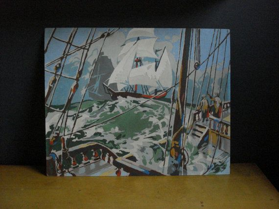 Out on the Sea III  Vintage Paint by Number by HappyGoVintage, $25.00