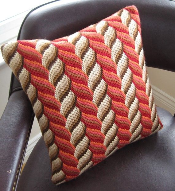 Bargello Needlepoint  3D Hand Embroidered Pillow by Lisolabella, $175.00