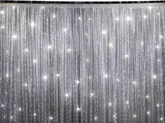 10 Ft X 20 Ft Sequin Silver Backdrop Photo Prop Curtain In