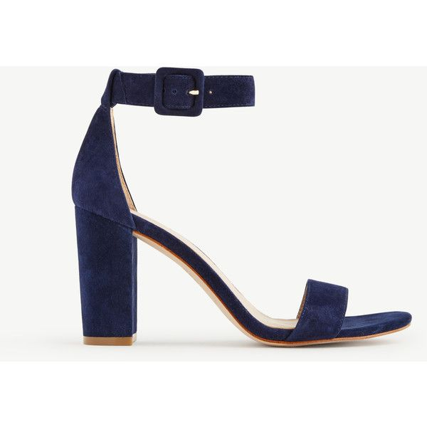 Ann Taylor Leda Block Heel Sandals (£94) ❤ liked on Polyvore featuring shoes, sandals, navy blue, block-heel sandals, heeled sandals, navy sandals, navy blue shoes and suede sandals