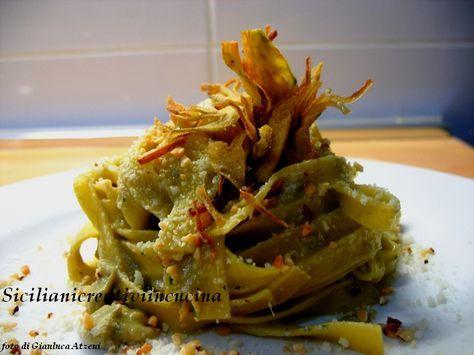 Fettuccine con crema di carciofi e nocciole | Siciliani creativi in cucina
