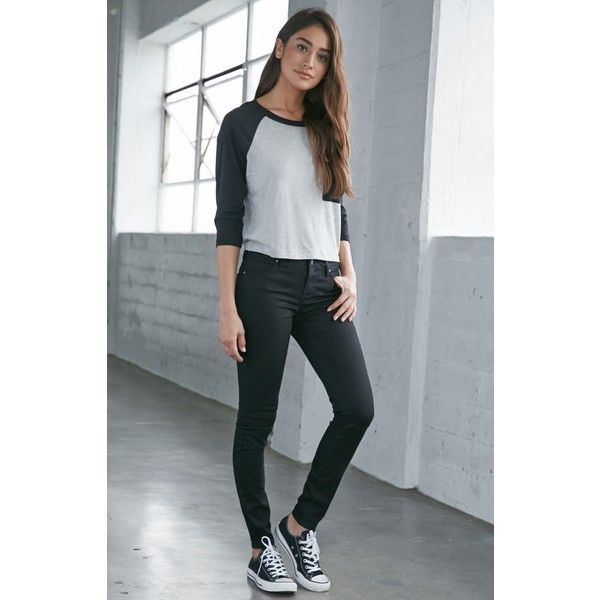Bullhead Denim Co. Starry Black Mid Rise Skinniest Jeans ($50) ❤ liked on Polyvore featuring jeans, big star jeans, mid rise skinny jeans, zipper skinny jeans, slim skinny jeans and long jeans