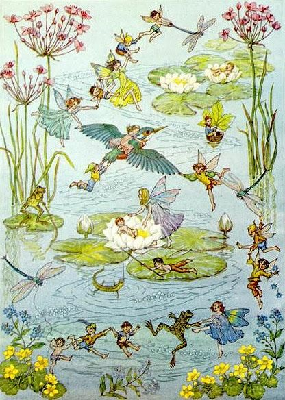 ≍ Nature's Fairy Nymphs ≍ magical elves, sprites, pixies and winged woodland faeries - Water Dance   Molly Brett (1902-1990)