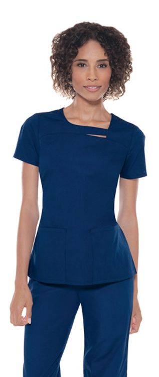 Love that cute strip at the neck, creating a unique, asymmetrical top. Baby Phat by Cherokee Women's Stylish Asymmetrical Neck Solid Top - 60% Cotton, 40% Polyester #Scrubs #Baby_Phat | allheart.com