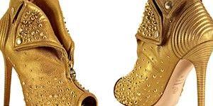 Alexander McQueen gold leather studded zip front platform booties