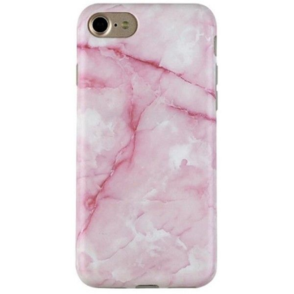 Pink-Streak Marble Iphone 7 ($25) ❤ liked on Polyvore featuring accessories, tech accessories and phone cases