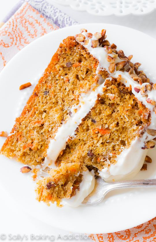 Here is my favorite carrot cake recipe. It's simple, sweet, moist, flavorful, and topped with cream cheese frosting!