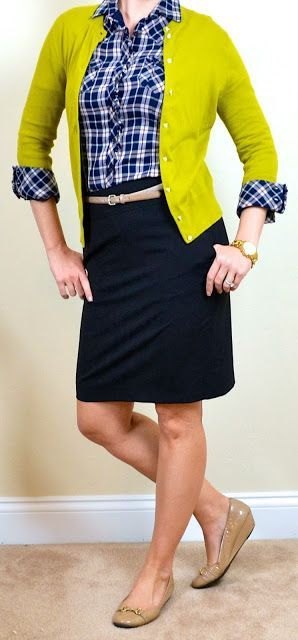 outfit post: blue plaid shirt, mustard green cardigan, black pencil skirt
