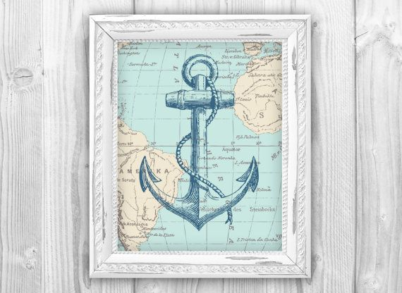Nautical Map Anchor Art Print