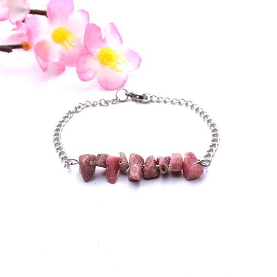 Jewelry rhodonite bracelet dainty bracelet by DSNatureetCreation https://www.etsy.com/listing/469072751/jewelry-rhodonite-bracelet-dainty