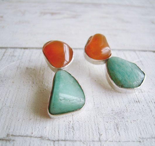 carnelian & amazonite stone earrings = atelier mozu =