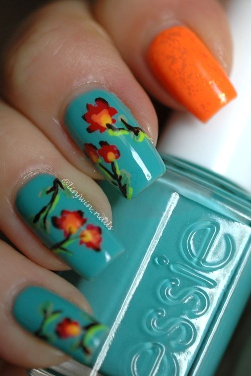 Fun, bright flowers - My favourite Spring Nail Art so far!