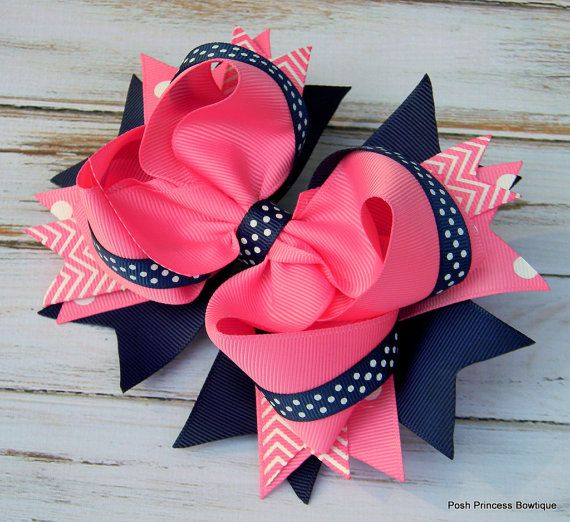 Navy blue Pink Hair Bows
