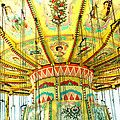 Surreal Fantasy Carnival Festival Fair Yellow Ferris Wheel Swing Ride  by Kathy Fornal