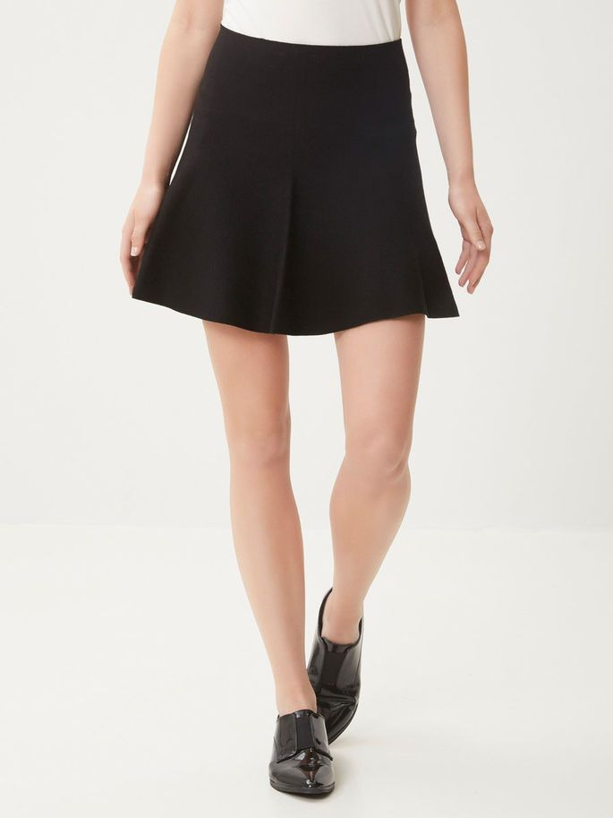 Black skirt style together with a black tee